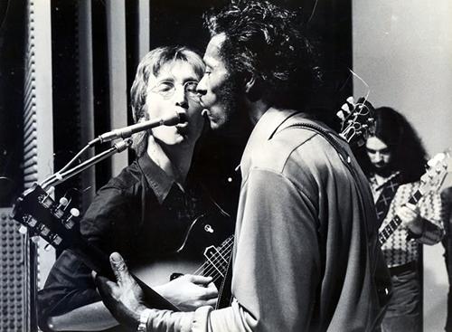 John Lennon, Chuck Berry, & Gary Van Scyoc, on stage 1972